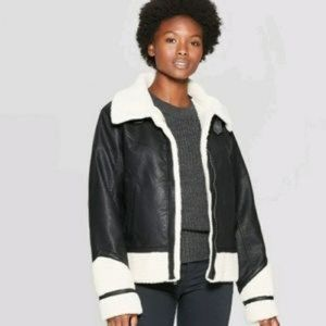 Universal Thread Black Sherpa Moto Jacket